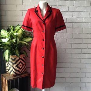 Kasper | Vintage Red Button Down Career Dress